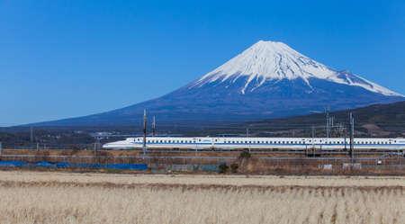 View of Mt Fuji and Tokaido Shinkansen, Shizuoka, Japan