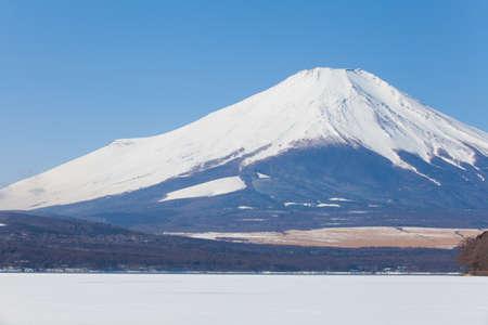 Top of Mountain Fuji with snow in winter season photo
