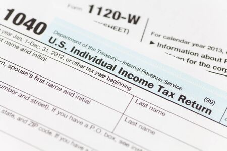 tax forms: Close - up US Tax income form Stock Photo