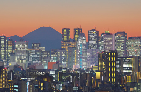 Tokyo cityscape and Mountain fuji at twilight Stock Photo