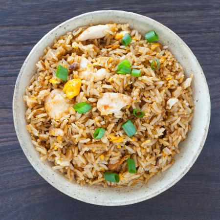 健康食品揚げ米鶏の卵とネギ 写真素材
