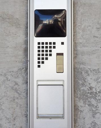 intercom: Security video intercom in the apartment door Stock Photo