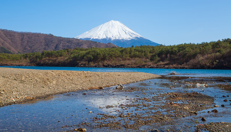 saiko: Mountain Fuji in spring season from lake saiko , Yamanashi Stock Photo