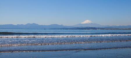 kanagawa: Mountain fuji and sea beach in spring season from Sagami bay , Kanagawa