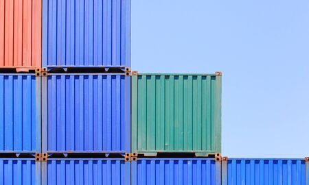 dockyard: Colorful stack of container shipping at dockyard . Stock Photo