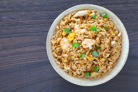 chinese style: Healthy food fried rice chicken with egg and green onion