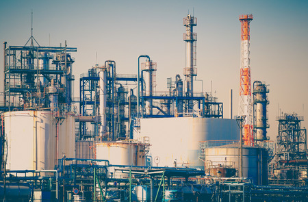 industry: Industrial view at oil refinery plant form industry zone