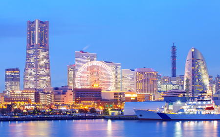 Yokohama skyline at minato mirai area at night view photo