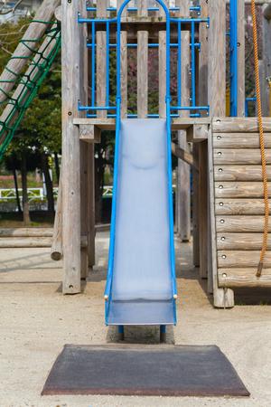 playground equipment: Empty outdoor kid playground equipment at public playground