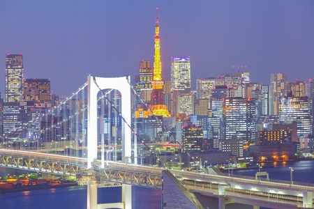 rainbow bridge: Tokyo rainbow bridge and Tokyo tower at twilight time
