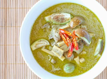 chicken curry: Herb and spicy food green chicken curry and vegetable