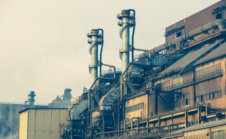 Exterior building of heavy steel industry factory photo