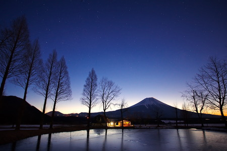 View of Mountain Fuji before sunrise in winter season photo