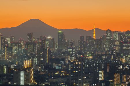 Tokyo city view with Tokyo Tower and mountain Fuji at beautiful sunset time photo
