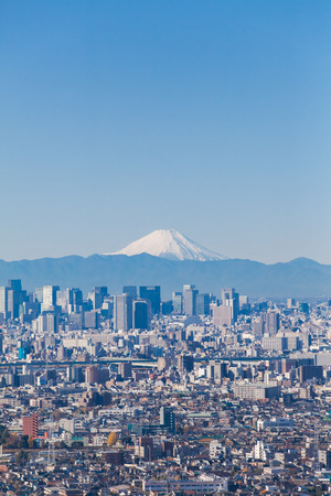 tokyo city: Tokyo city view and Mountain Fuji in winter season