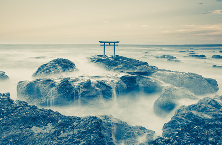 Japan landscape of traditional Japanese gate and sea at Oarai  Ibaraki prefecture Stock Photo