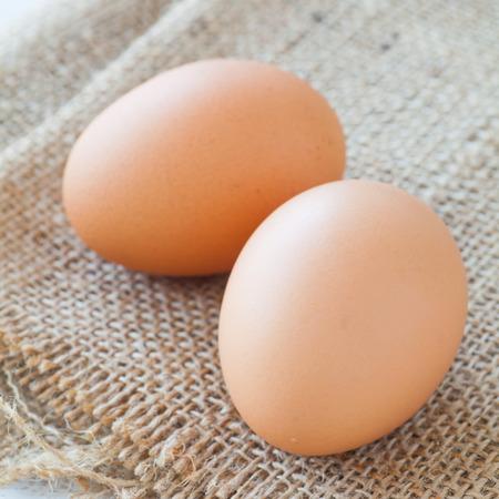 chicken egg: Healthy food brown chicken egg on brown fabric background