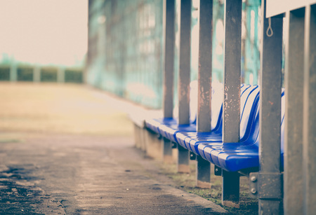 player bench: Staff and player bench at baseball field Stock Photo