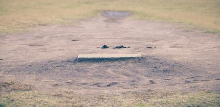 pitchers mound: Close - up Baseball Pitching mound and green grass