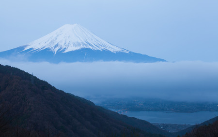 Mountain Fuji and lake kawaguchiko in winter season early morning photo
