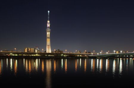 tokyo city: Tokyo city view with Tokyo sky tree and sumida river at twilight Stock Photo