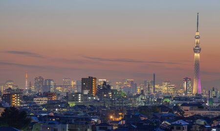 2 つのランドマーク東京スカイツリーと東京タワーの夜の東京シティー ビュー 写真素材