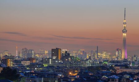 Tokyo city view with two Tokyo landmark Tokyo skytree and Tokyo Tower at night