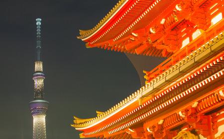 senso ji: Tokyo Asakusa temple and Tokyo sky tree at night Editorial