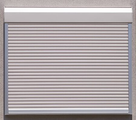 White metal roller window shutter background and texture photo