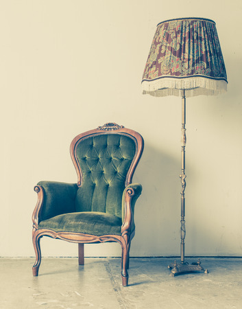 antique chair: Vintage and antique chair with white wall background