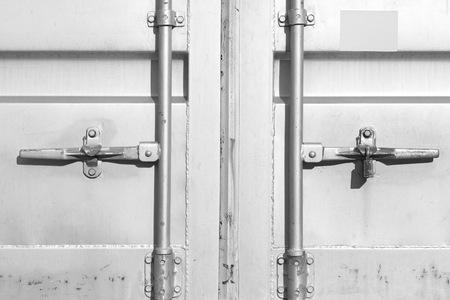 dockyard: Close - up  container shipping door at dockyard
