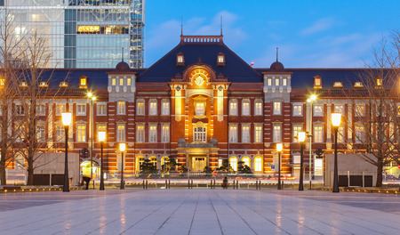 Beautiful Tokyo station building at twilight time Editorial