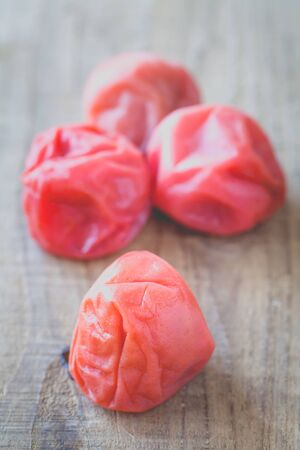 traditonal: Umeboshi , Japanese traditonal food salt plums or pickled plums Stock Photo