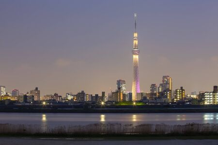 Tokyo city view with Tokyo sky tree and river in evening photo
