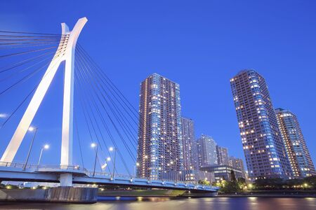 tokyo city: Tokyo city view with highrise building and sumida river in evening