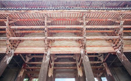wood structure: Detail of Japanese temple old wood structure Stock Photo
