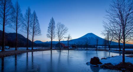 winter sunrise: Beautiful Mountain Fuji at sunrise in winter season