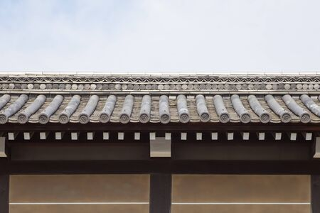 japanese temple: Architecture detail of Japanese temple roof and wall