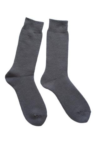 winter black sock for men isolated on white background photo