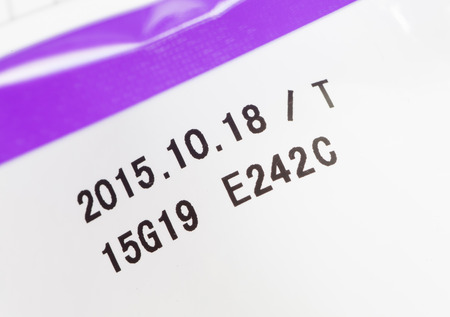 expiration date: Close - up Expiry date printed on product box