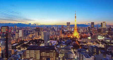 도쿄 타워와 저녁에 도쿄 시티 뷰