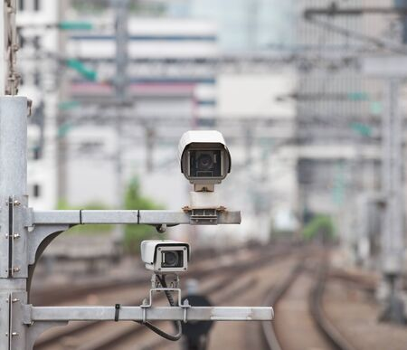 camera: Video camera security system at train station