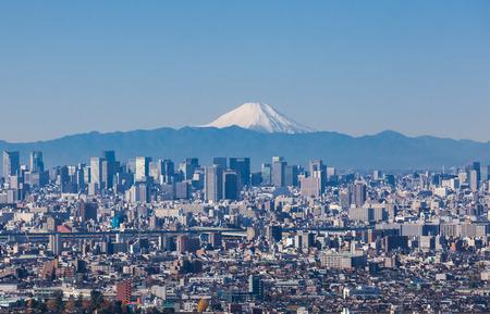 겨울철 도쿄의 도시 전망과 후지산 스톡 콘텐츠