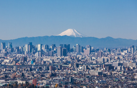 Tokyo city view and Mountain Fuji in winter season