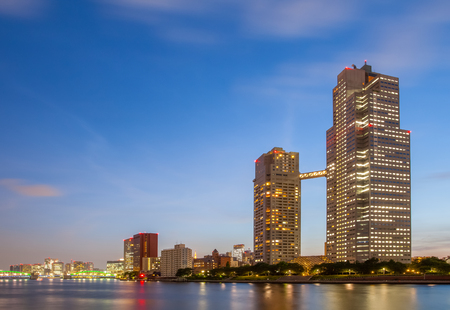 tokyo city: Panorama view of waterfront Tokyo city at twilight Editorial