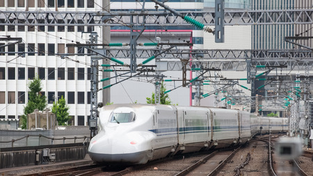 bullet train: The Shinkansen bullet train network of high-speed railway lines in Japan