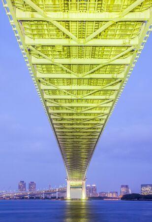bay city: Tokyo bay city and Tokyo rainbow bridge in evening Stock Photo