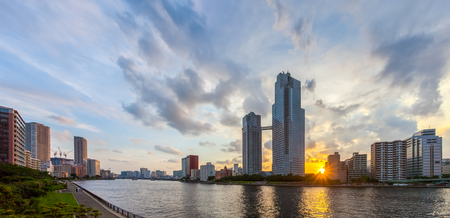 tokyo city: Panorama view of waterfront Tokyo city at twilight Stock Photo