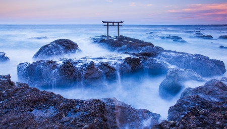 and gate: Japan landscape of traditional Japanese gate and sea at Oarai  Ibaraki prefecture Stock Photo