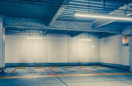 car park interior: Empty space car park interior at night